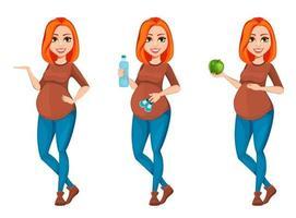 Beautiful pregnant woman cartoon character vector