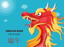 tarjeta de felicitación del festival del barco del dragón chino vector