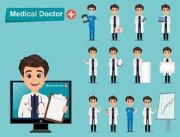 lindo personaje de dibujos animados médico conjunto vector