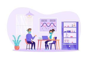 El paciente consulta con el médico en la ilustración de vector de concepto de clínica médica de personajes de personas en diseño plano