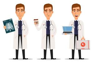 Joven médico profesional con toma de rayos x con café y portátil vector
