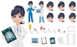 Beautiful cartoon character medic creation set vector