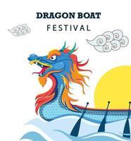 concepto del festival del barco del dragón chino vector