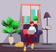 Young man freelancer works at home vector