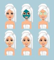 Girl with a towel on her head applied a mask vector