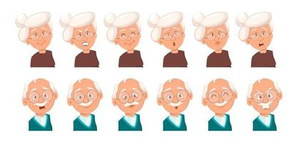 Face expressions of grandfather and grandmother vector