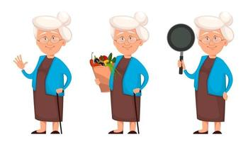 Grandmother set of three poses vector