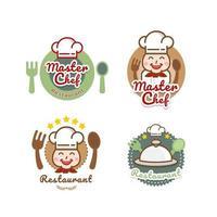 restaurante logo plantilla chef gorro etiquetas vector