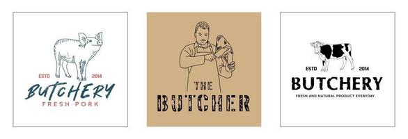 Butchery logo template Farm animal icons vector