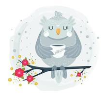 Cute owl sitting on branch and drinking coffee vector