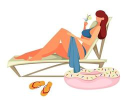 Young woman sunbathes on the beach vector