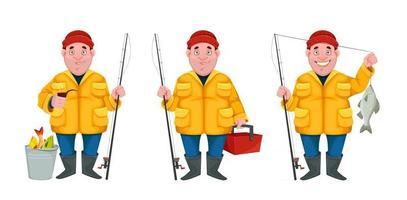 Funny cartoon character fisherman vector