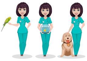 mujer veterinaria conjunto de tres poses vector