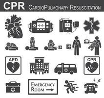 RCP icono de reanimación cardiopulmonar diseño plano en blanco y negro soporte vital básico bls y soporte vital cardíaco avanzado acls desfibrilación por compresión de pecho boca a boca vector