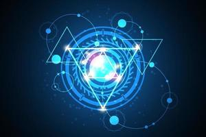 Technology in geometric concepts on a dark blue background vector