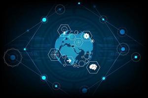 innovación del mundo futuro sobre un fondo azul oscuro vector
