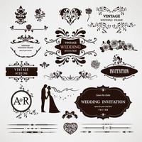 diseño de tarjeta de invitación de boda vector