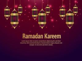 Ramadan kareem islamic festival celebration greeting card with creeative lantern vector