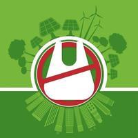 ecología y medio ambiente concepto de salvar el mundo sin bolsas de plástico vector
