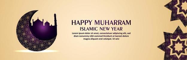 Happy new year islamic new year celebration banner with pattern moon vector