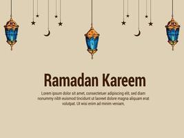 Flat design of ramadan kareem vector illustration background