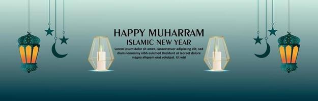 Happy muharram islamic new year with creative lantern vector