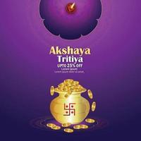 Akshaya tritiya indian festival sale discount with vector gold coin kalash