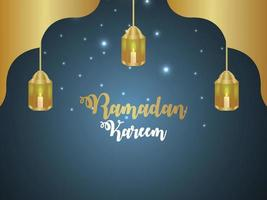 Ramadan kareem islamic festival greeting card with vector lantern