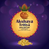 Akshaya tritiya event illustration with gold coin and traditional kalash vector