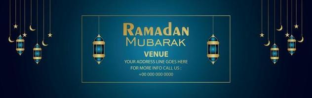 Islamic festival ramadan kareem invitation banner or header with creative lantern vector