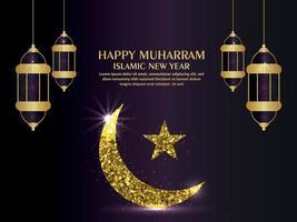 Happy muharram islamic new year with golden moon and lantern vector