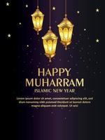 Happy muharram islamic party flyer with realistic golden lantern vector
