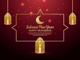 Happy muharram islamic festival background with golden lantern vector