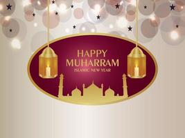 Realistic happy muharram islamic new year  background with creative lantern vector