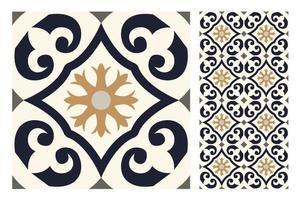 patrones de azulejos vintage antiguo diseño sin costuras vector
