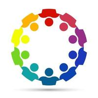 Group of ten persons in circle holding hands The summit workers are meeting in the same power room vector