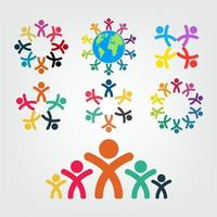 Graphic group connecting People Connection logo set Teamwork in a circle holding hands Business person meeting in the same power room vector