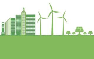 Green ecology city help the world with eco friendly concept ideas vector