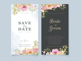 Wedding Invitation Card Floral Concept Template with Flowers and Leaves vector