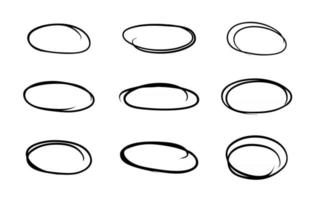 Hand drawn circle line sketch message note round circles vector