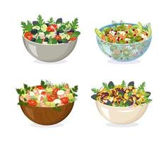 A set of bowls from different materials with homemade salad. Sliced vegetables, herbs and healthy ingredients in glass, wood, metal and ceramic dishes. Cooking delicious food at home. Vector illustration