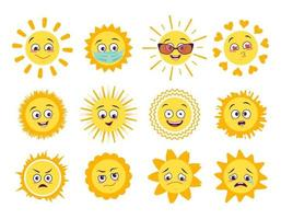 Sun icons set with different emotions medical mask and goggles isolated on white background Symbol spring and summer vector