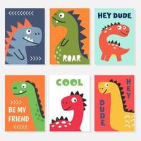 Set of colorful posters with cute dinosaur vector