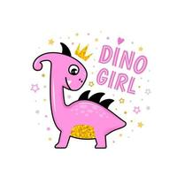 Cute dinosaur princess vector design