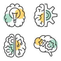 Outline brain conceptual logos vector design