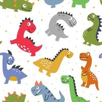 Colorful pattern with cute colorful dinosaurs vector