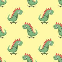 Seamless pattern vector illustration with funny cheerful cartoon dino riding skateboard on yellow background