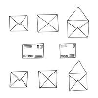 Hand drawn mail post letter envelope Doodle elements Mail and post icon in sketch style vector