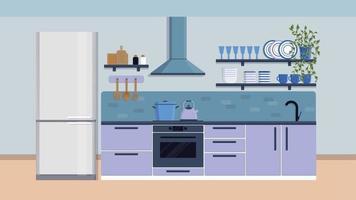 cocina interior muebles cubiertos vajilla cocina ilustración plana vector