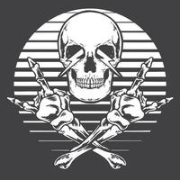 Crossed skull hands rock and roll monochrome vector